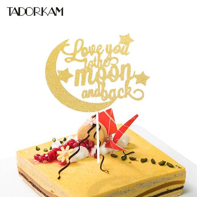Luna E Stella Della Torta Del Bigne Topper Love You Bandiera Cake