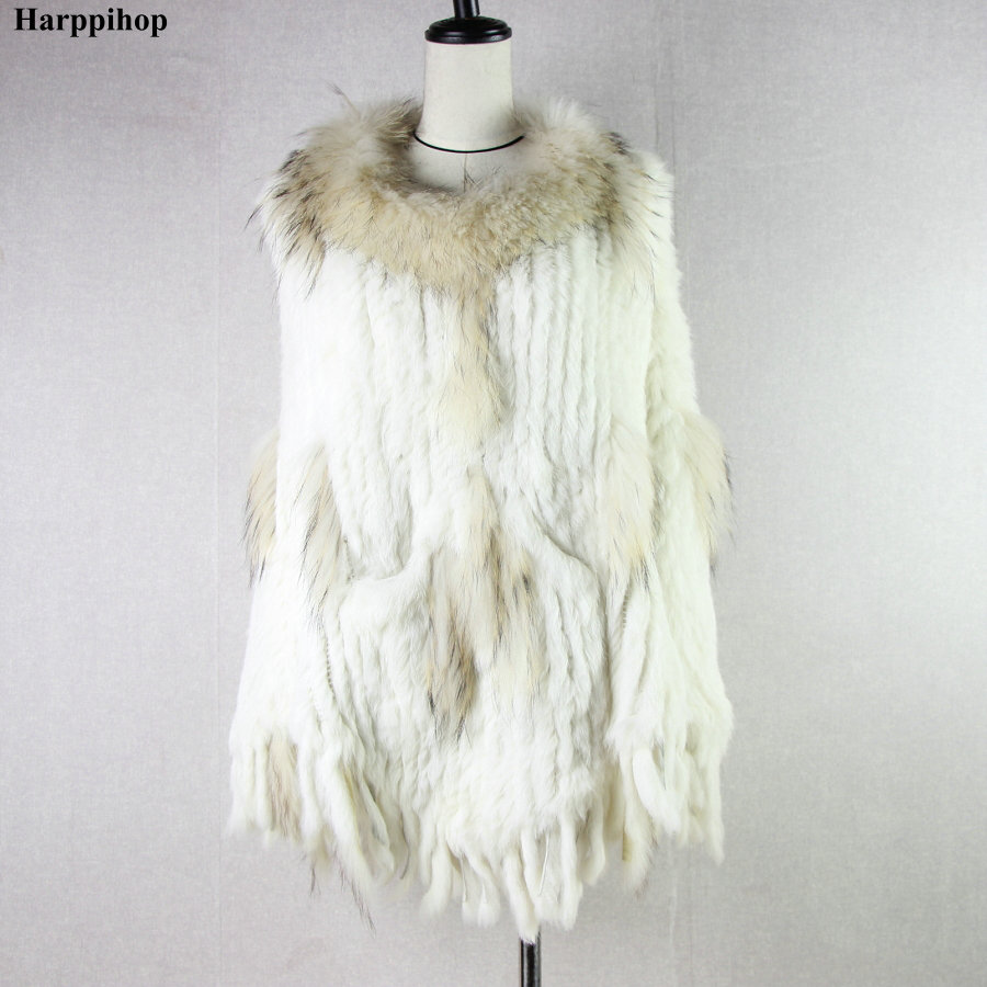 Harppihop Real Knitted rabbit with raccoon Fur Shawl poncho stole shrug cape robe tippet wrap women's winter warm coat/outwear