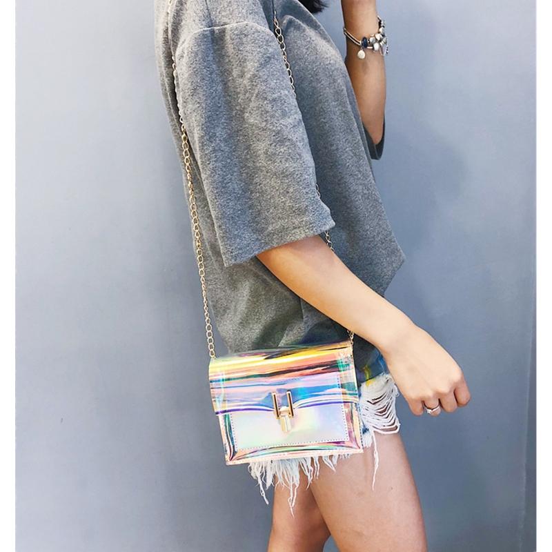 JIAOO Laser Transparent Bags Fashion Women Crossbody Bags for Women Korean Style Shoulder Bag Messenger PVC Waterproof Beach Bag 8