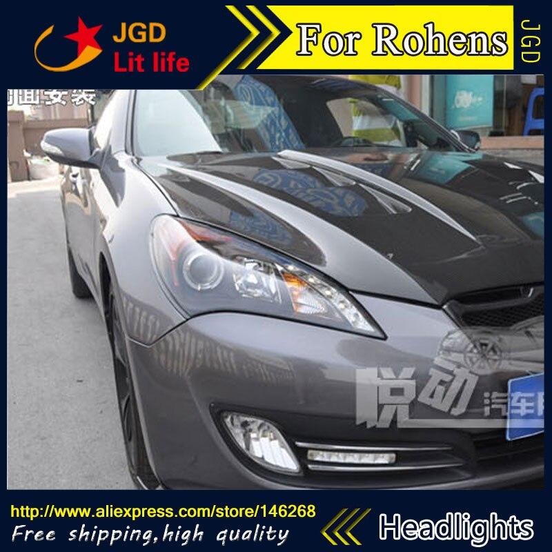Free shipping ! Car styling LED HID Rio LED headlights Head Lamp case for Hyundai Rohens 2009 2011 Bi Xenon Lens low beam