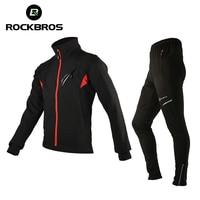 ROCKBROS Ciclismo Jersey Conjuntos de Inverno do Velo Térmica Ciclismo Roupas de Equitação À Prova de Vento Jaqueta de Bicicleta Reflexiva Calças Sportswear