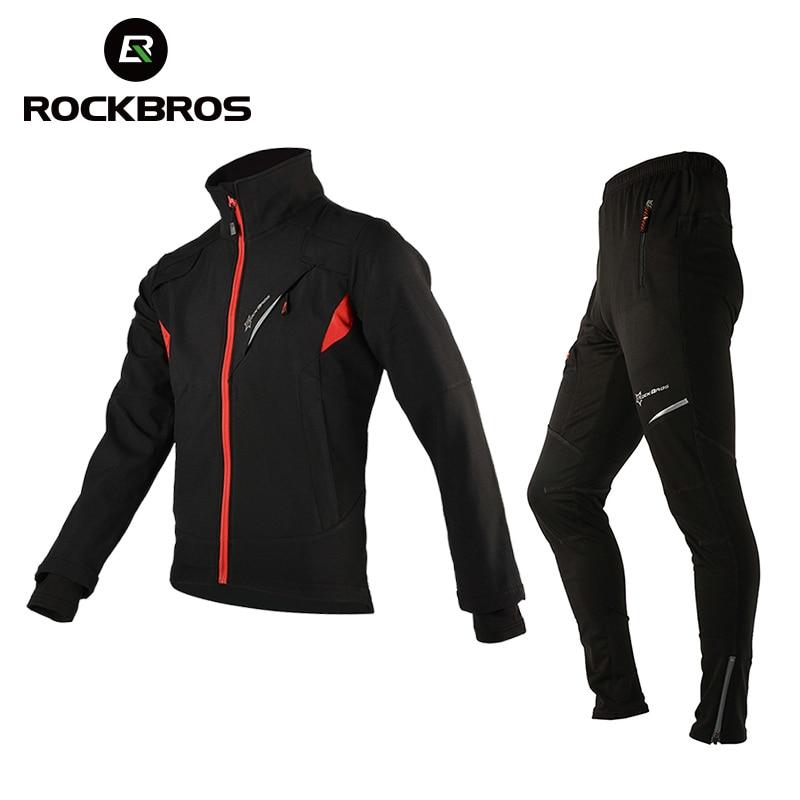 ROCKBROS Ensembles de Maillot de Cyclisme Thermique Hiver Toison Tenues de Cyclisme Coupe-Vent Vélo Réfléchissant Veste Pantalon Sportswear