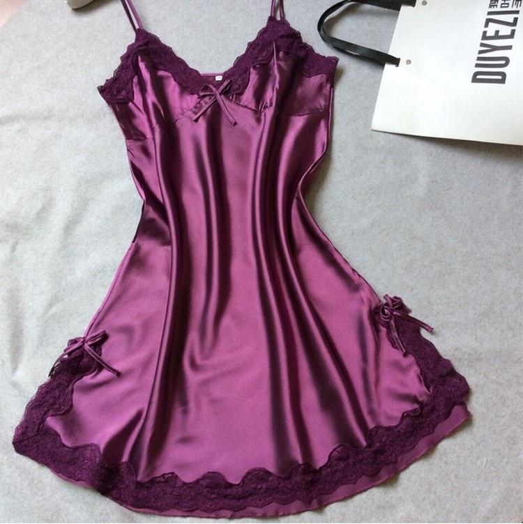 Damen Sexy Silk Satin Nachtkleid Ärmelloses Nachthemden V-ausschnitt ...