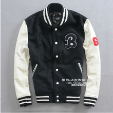 2014 NEW ! Woolen fight cowhide men brand leather jacket stand-up collar fashion Slim Genuine leather baseball clothing / S-XXL