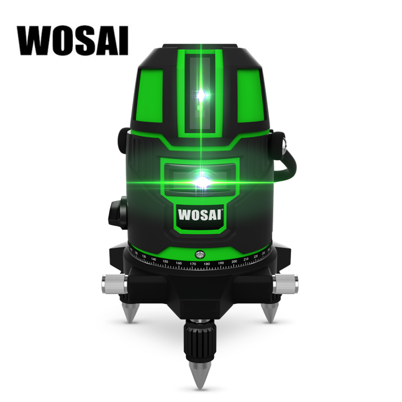 WOSAI Green Laser Level 5 Lines 6 Points Laser Level Automatic Self Leveling 360 Vertical Horizontal