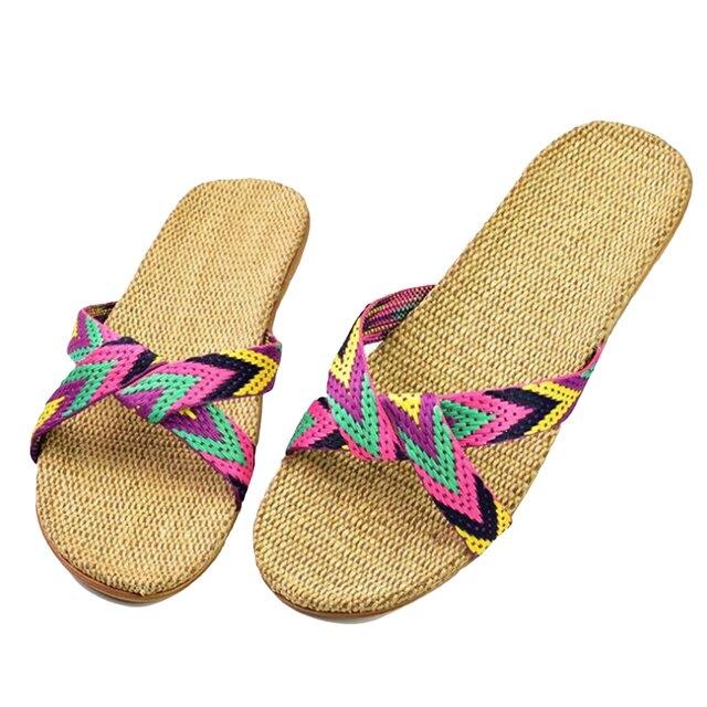Summer Slippers For Women Chain Slides Home Floor Shoes Flax Cross Belt Silent Sweat Slippers Women Sandals 2