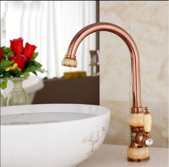 Free Shipping Brass torneira cozinha with Jade kitchen faucet/single handle Gold finish basin sink mixers taps sink faucet high quality single handle brass hot and cold basin sink kitchen faucet mixer tap with two hose kitchen taps torneira cozinha