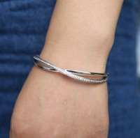 Promotion 100 925 Sterling Silver Luxury Pave AAA Cubic Zirconia Criss Cross X Women Bangle Bracelet