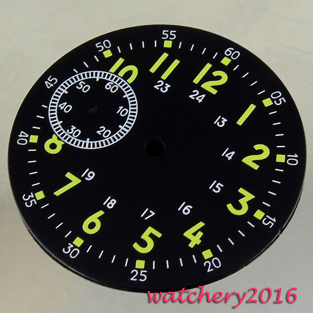 Neue 38,9mm Schwarz Zifferblatt Grün Zahlen Fit 6497 Bewegung Herren Uhr Zifferblatt Noch Nicht VulgäR Uhren