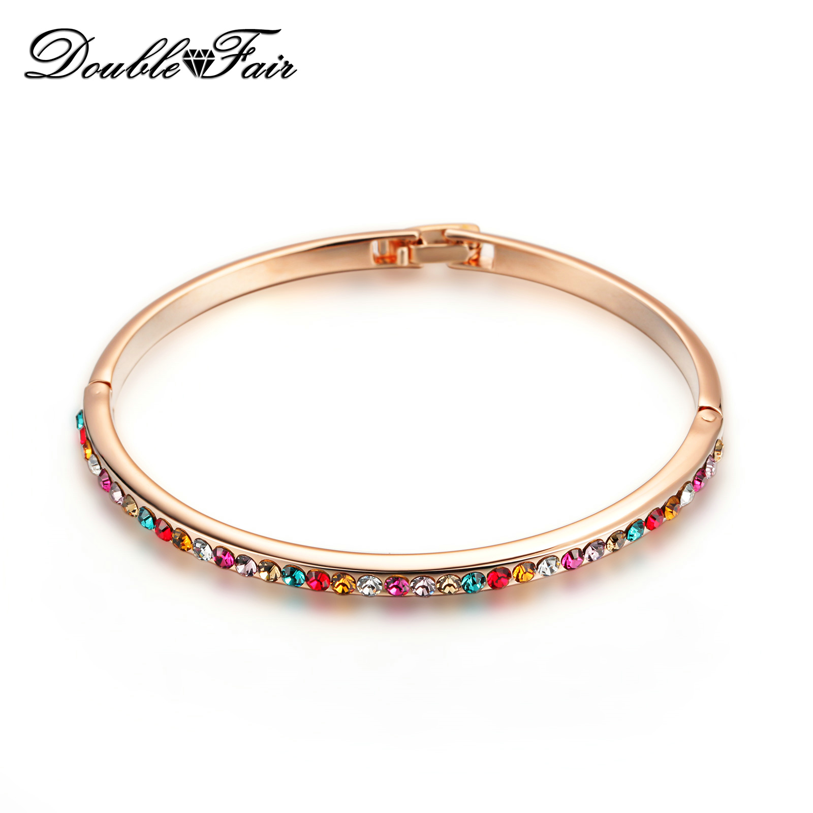 Hot Sale Elegant Wedding/Party Cubic Zirconia Charm Bracelets & Bangles Rose Gold Color Crystal Jewelry For Women DFB014