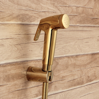 Goud ABS Sproeier hand gehouden bidet spray shattaf spray factory koop wc douche jet set met golden houder slang