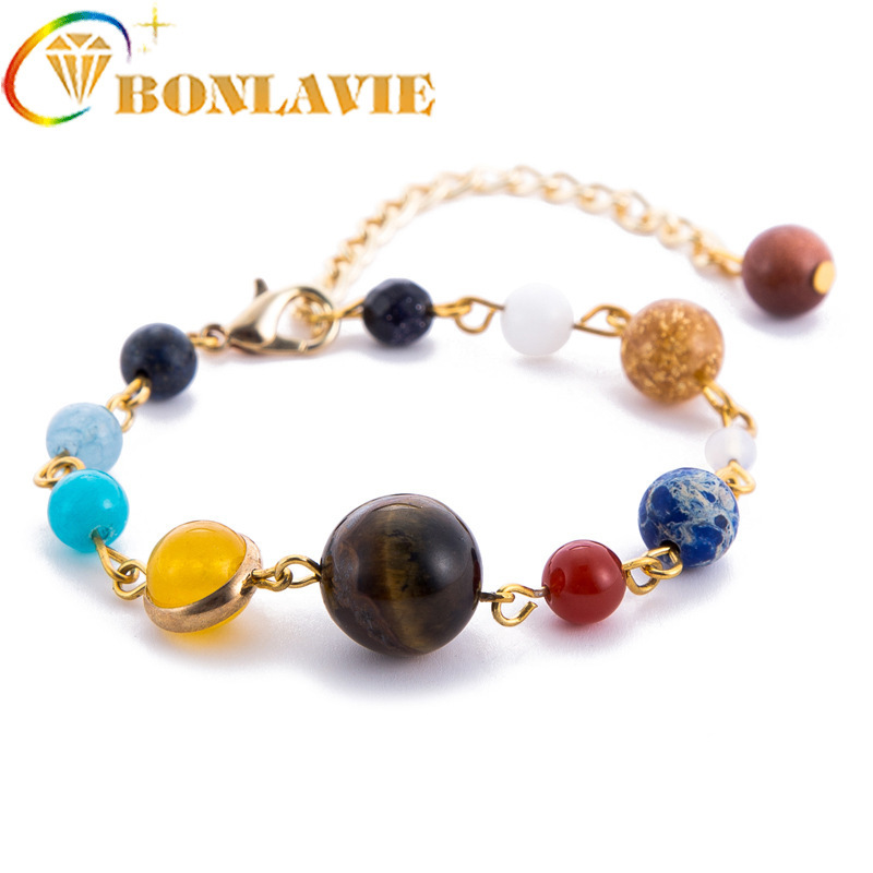 2018 New Pattern Universe The Galaxy Solar System Eight Planets Bracelet Guard Stars Natural Stone Beads Bracelet Woman