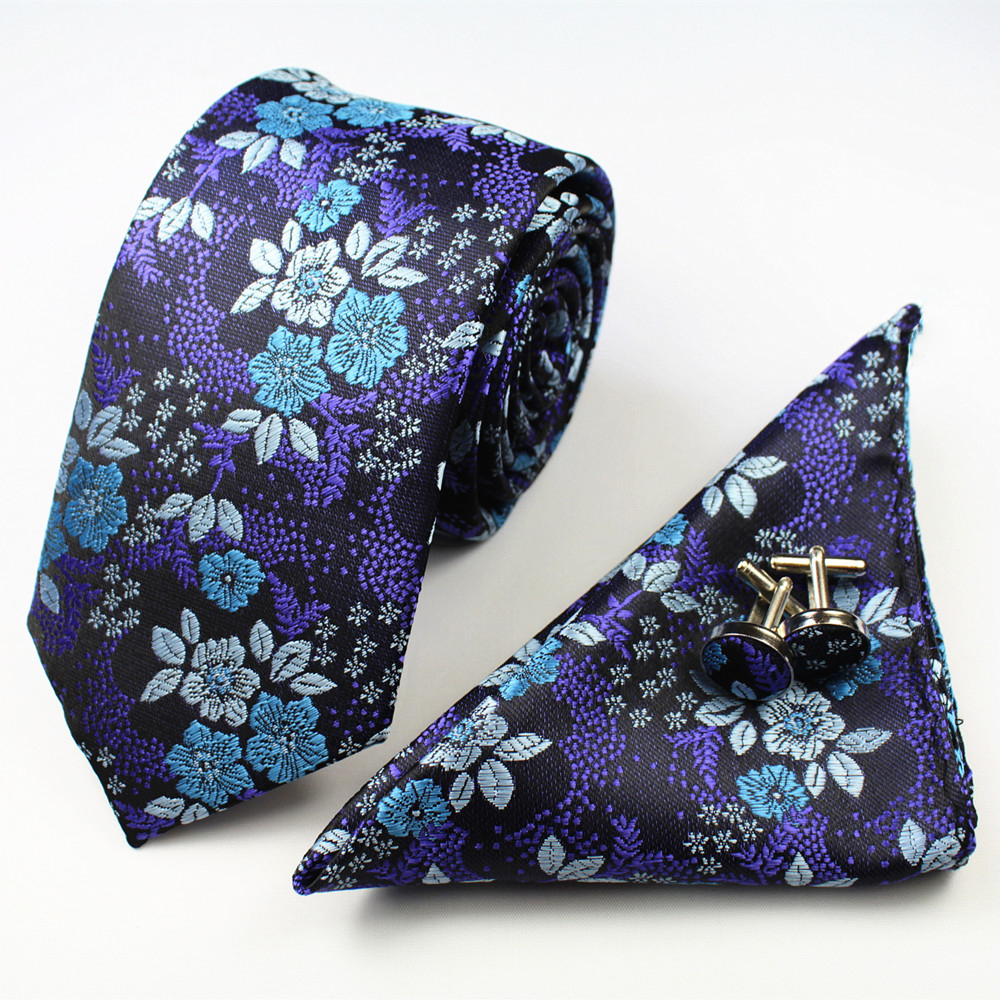 Men Tie Paisley Rose 7cm Silk Woven Fashion Tie Gravata Corbatas Handkerchief Pocket Square Cufflinks Set for Wedding Party