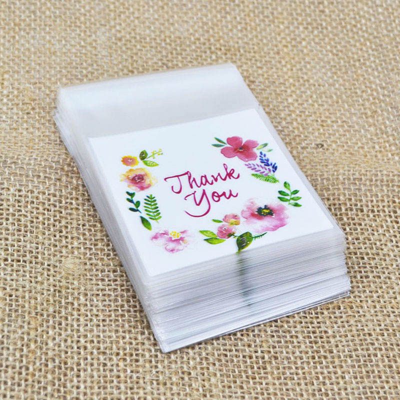50/100pcs Write Thank You Plastic Bags Cookie Candy Bag Self-Adhesive For Wedding Birthday Gift Bag Biscuit Baking Packaging Bag