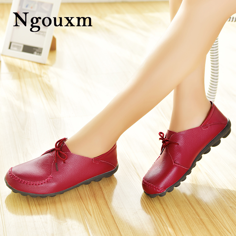 Ngouxm Women's Genuine Leather Oxford Shoes Woman Lace Up Female Handmade Comfortable Soft Casual Flats Women Shoes Ladies цена