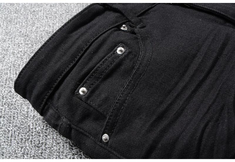 Royles Men's skinny black ripped jeans 7