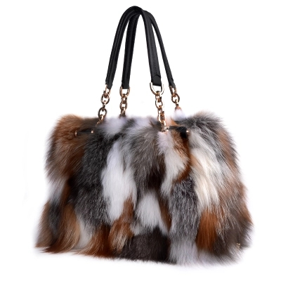 High End Ladies Real Fox Fur Bag Women Tote Bags Genuine Leather Design Shoulder Bag Cowhide
