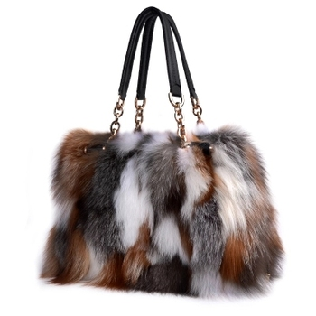 High-End Ladies Real Fox Fur Bag Women Tote Bags Genuine Leather Design Shoulder Bag Cowhide Big Handbag Fashion Ladies Crossbod