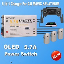 New Arrival 5 in 1 Battery Controller Smartphone Tablet Charger 5.7A Large Current  with OLED Display  for MAVIC & PLATINUM