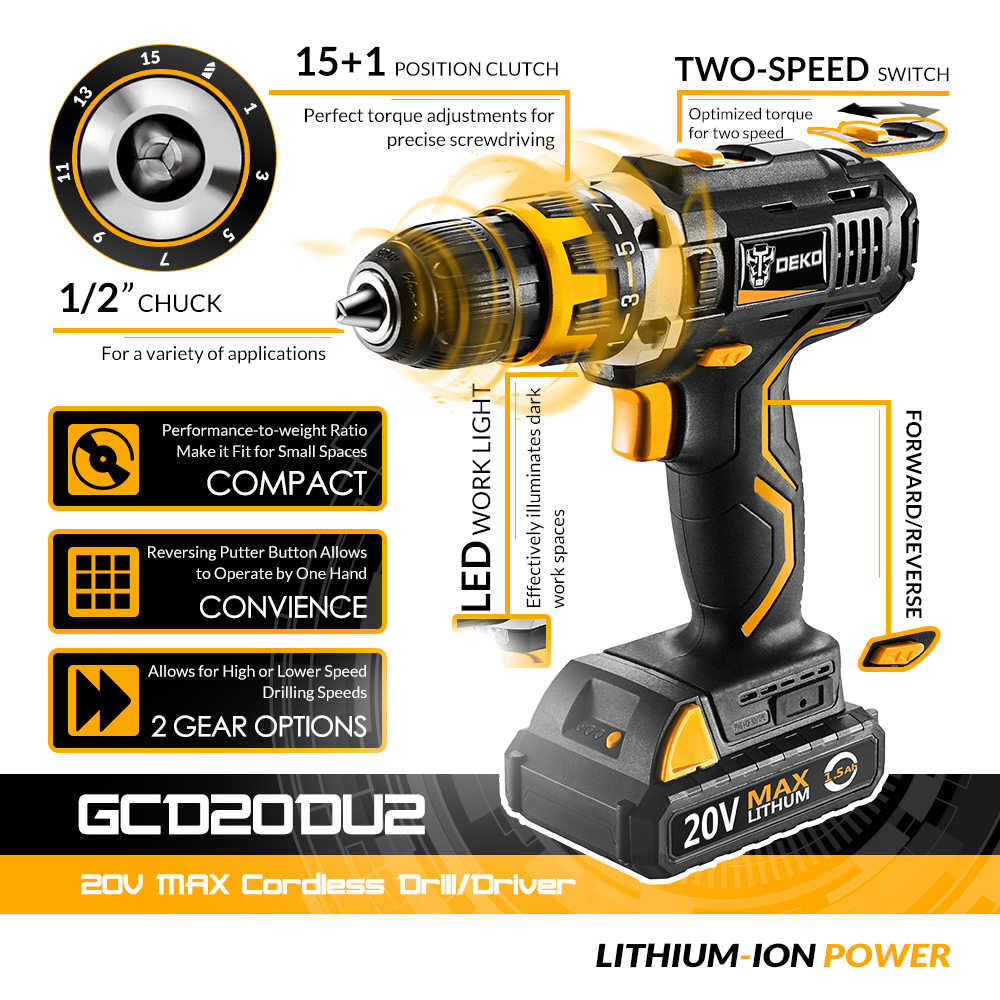 Deko GCD20DU2Y 20Volt Max Obeng Listrik Cordless Drill Mini Nirkabel Power Driver DC Baterai Lithium-Ion 1/2-inch 2-Kecepatan