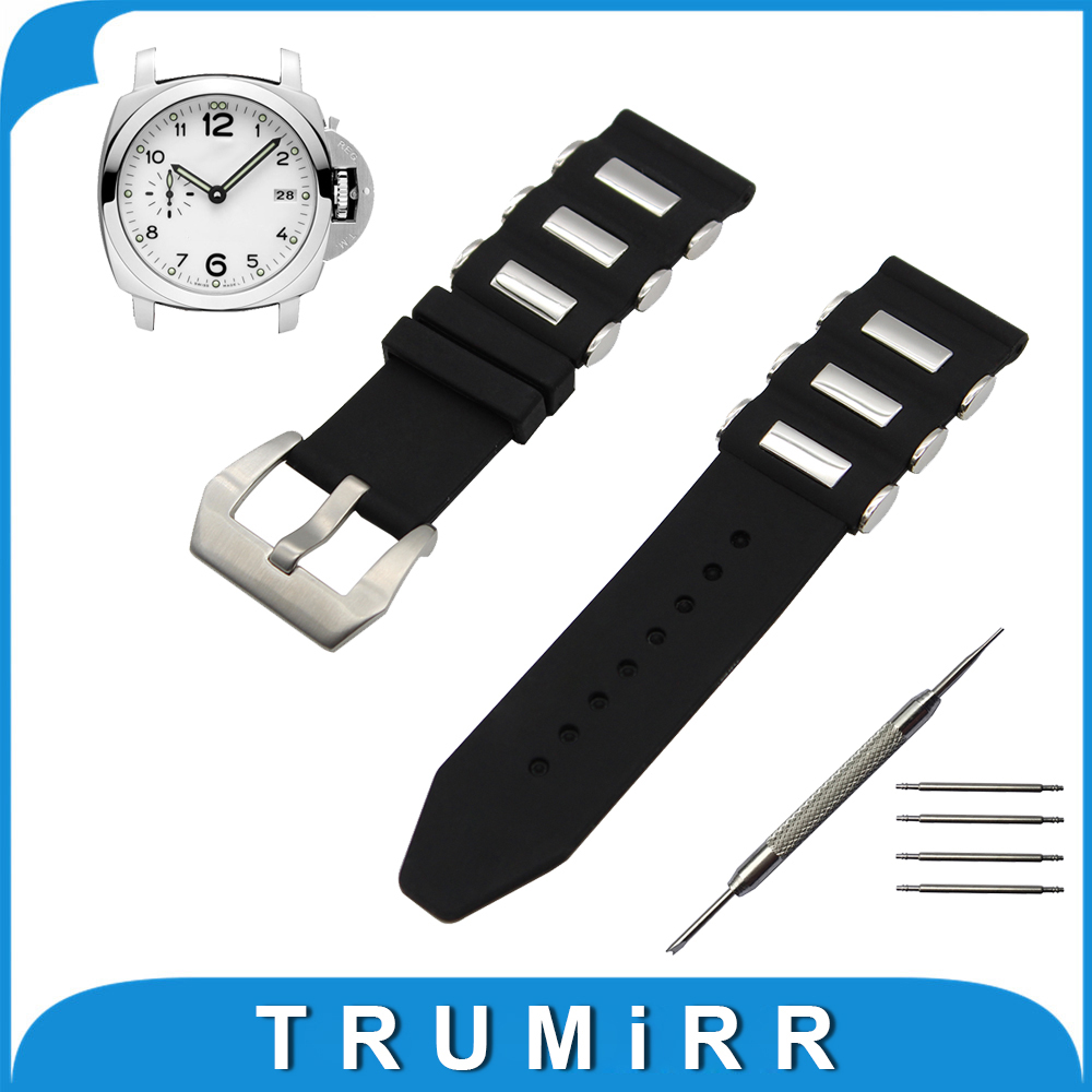 22mm 24mm Silicone Rubber Watch Band for Panerai Luminor Radiomir Stainless Steel Pre-v Buckle Strap Wrist Belt Bracelet Black 24mm silicone rubber watch band tool for suunto traverse stainless steel pre v buckle strap wrist belt bracelet black