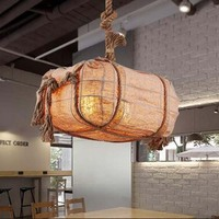 The study Pendant Lights bedroom garden style balcony aisle warehouse retro iron lamp restaurant bag rope pendant lamps LU731365