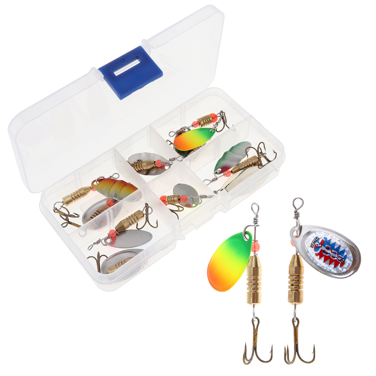 WEIHE NEW 11pcs/set Assorted Metal Fishing Lures Spinner Spoon Blades Bait with Treble Hooks and Plastic Box 4pcs set of fishing lures saltwater hard bait metal spoon fishing lure spinner wobbler treble hooks for sea fishing accessory