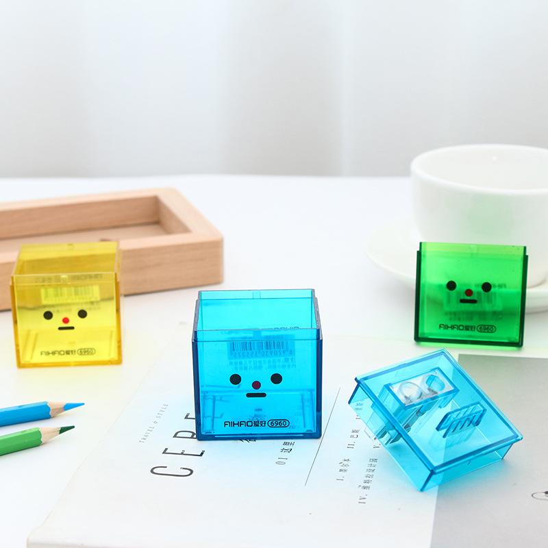 2018 Back to School Stationery Double-Hole Tub Pencil Sharpener Cute Face Gift Box Jumbo & Graphite Pencil 1pc