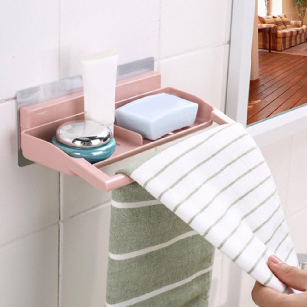 Plastic Soap Cosmetics Storage Rack Wall Shelf Bathroom Towel Holder ...