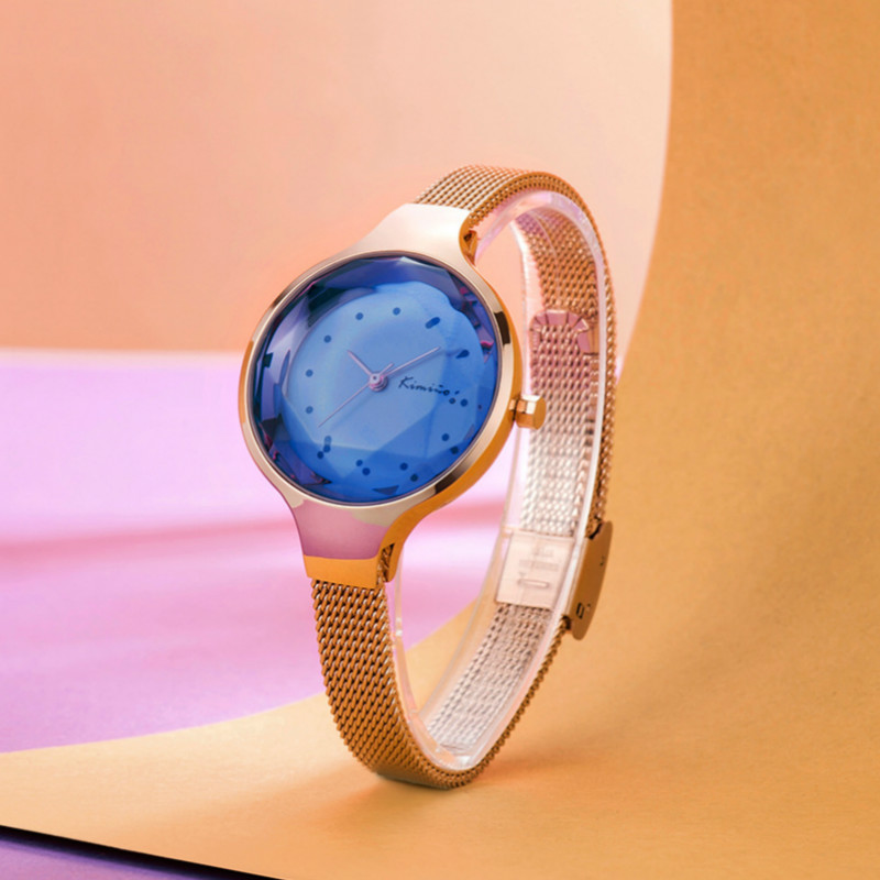 KIMIO Quartz Watches Women Luxury Multislice mirror Stainless Steel Mesh Strap Bracelet Watch Ladies Dress Clock Relogio Mujer kimio brand rose gold luxury slim bracelet ladies casual business waterproof clock women dress stainless steel mesh quartz watch