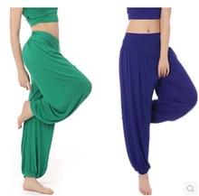 Plus Size 100%Cotton High Waist Women Harem Modal Dancing Trousers Loose Overall Wide Sport Yoga Pants Sweatpants