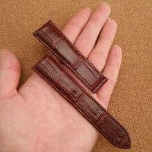 Customed Brown Correas de reloj de Cuero de Cocodrilo correas de Reloj accesorios reloj de Pulsera marca Estilo extremo recto 20mm 22mm 23mm