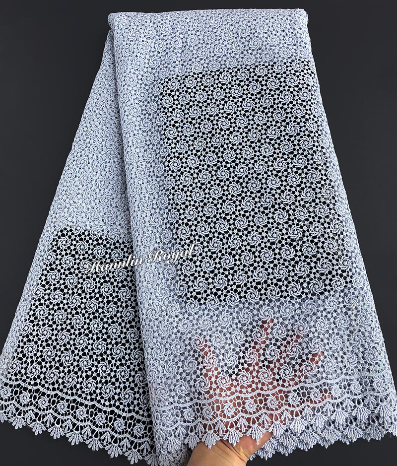 Plain silver African cord lace lurex embroidery Guipure lace fabric allover small eyelet holes Wise choicePlain silver African cord lace lurex embroidery Guipure lace fabric allover small eyelet holes Wise choice