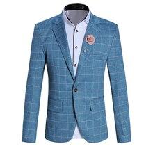 New 2018 Brand Casual Plaid Blazer Jacket Men Flower Brooch Korean Trend Suit Male Wedding Dress Slim Fit White Blazer Coat Man