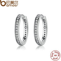 BAMOER New Trendy 925 Sterling Silver Cubic Zirconia Simple Item Female Hoop Earrings Jewelry For Women