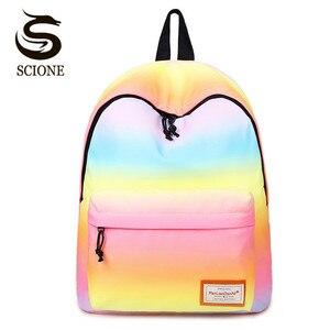 Image 1 - Scione Women Printing Backpacks Gradient Color School Bags For Teenage Girls School Shoulder Bags Waterproof Bookbag Mochila