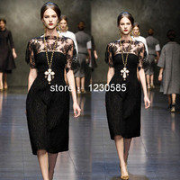 Darmowa wysyłka black lace kobiety dress o szyi krótkie rękawy sheer mesh krótki kobiety dress high end runway suknia 61436
