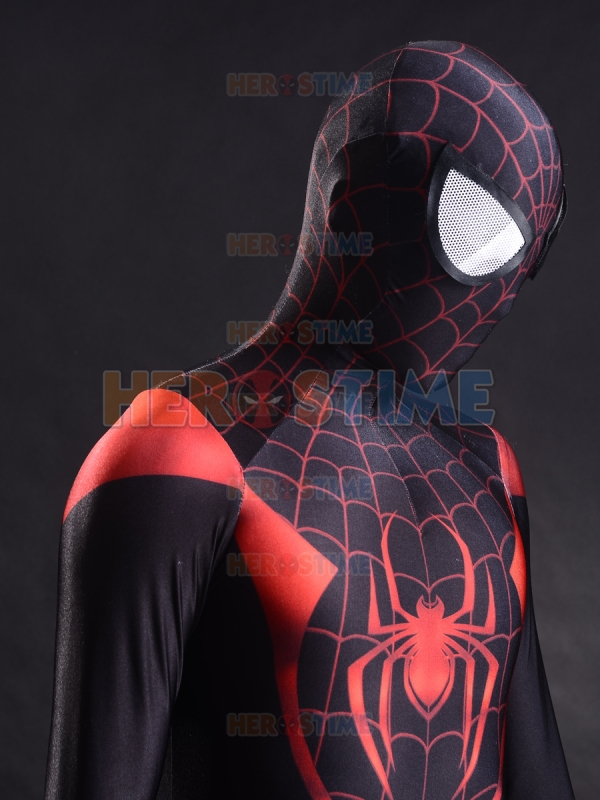 Ultimate Miles Morales Spiderman Costume Spandex 3D Printing New Fullbody Spiderman Superhero Zentai Suit Free Shipping