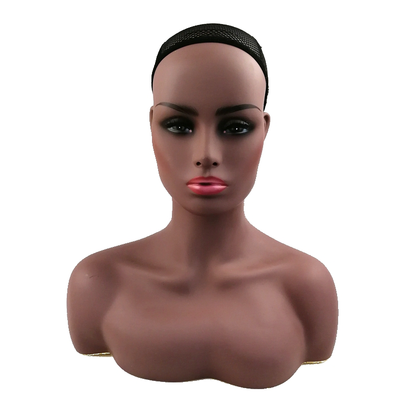 HARMONY 1 Piece Realistic Half Body Double Shoulder PVC Training Mannequin Heads for Display Wigs Hat Jewelry 2 Colors Available chain