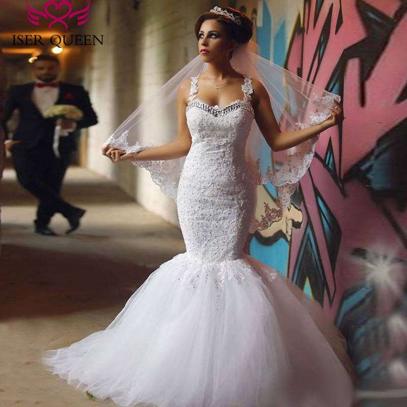 Spaghetti straps Crystal Vintage Mermaid Wedding Dress Pure White Color Embroidery Appliques Illusion Back Wedding Dresses