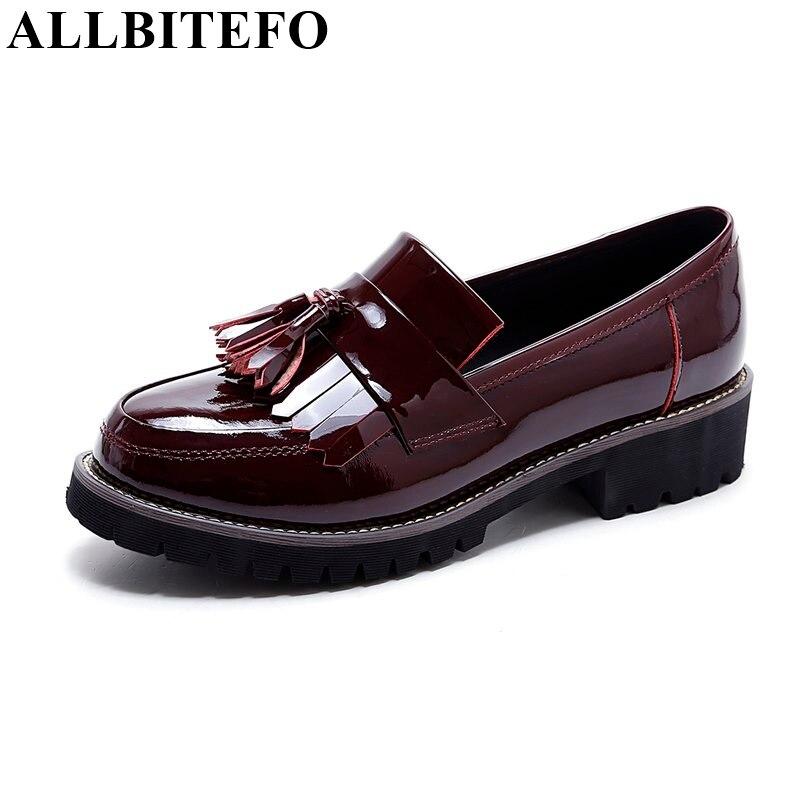 ФОТО ALLBITEFO new spring full genuine leather tassel thick heel platform women pumps fashion high heel shoes sapatos de salt