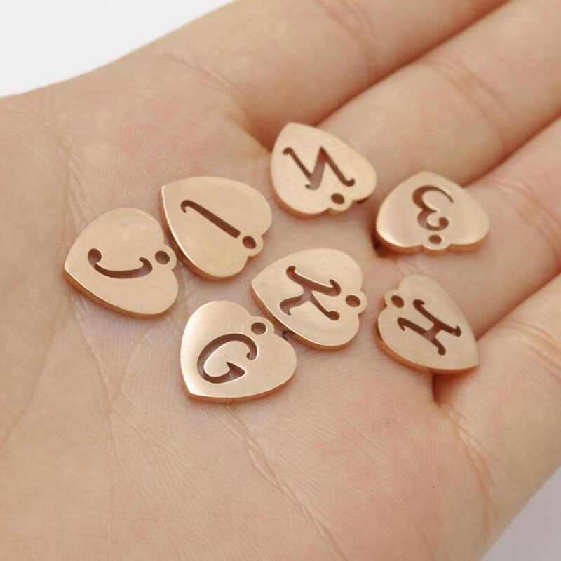 26pcs/lot Stainless Steel Mirror Polished Rose Gold Color Heart Alphabet Charms DIY Initials From A-Z Pendant Charms Accessories