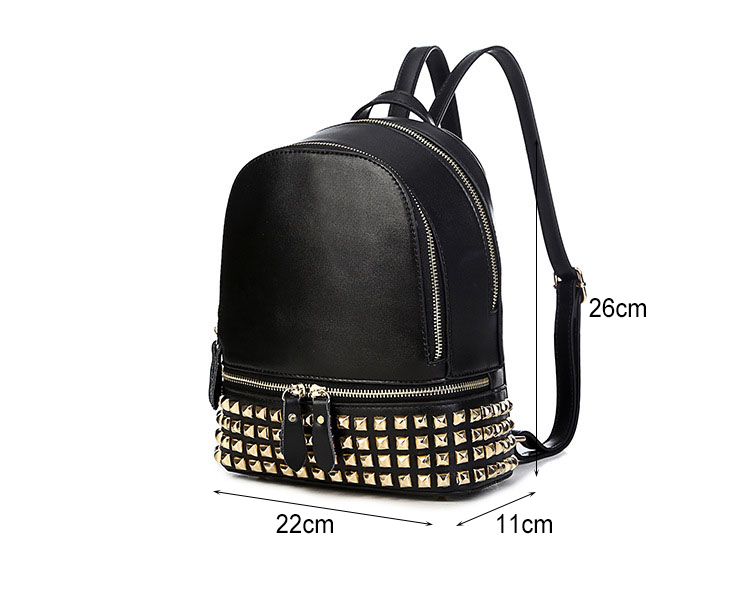 Classic Famous Brand Women Backpacks Genuine Leather Designer Backpack For Lady Fashion Rivet Double Shoulders Bags (42)