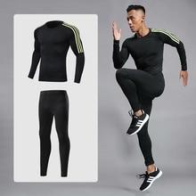 Мужской спортивный компрессионный Гоночный комплект футболка + брюки-колготки телесного цвета фитнес с длинными рукавами тренировочные костюмы Одежда Для Фитнеса Йоги