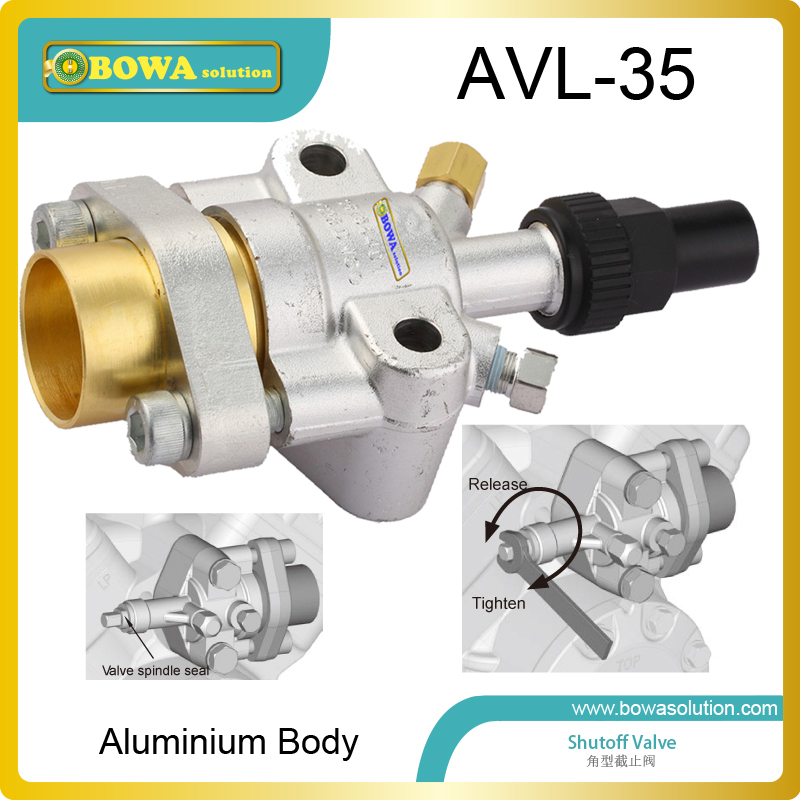 Aluminium body shutoff valve as dicharge valve of open type compressor for transport refrigeration and other applications aluminium shutoff valve as suction valve of fk20 fk30 and fkx open type compressors for mobile refrigeration and air condtioner