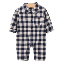 цена на YiErYing Newborn Baby Clothes Long Sleeve Girl Boy Clothing Lattice Design 100% Cotton Rompers Infant Baby Jumpsuits