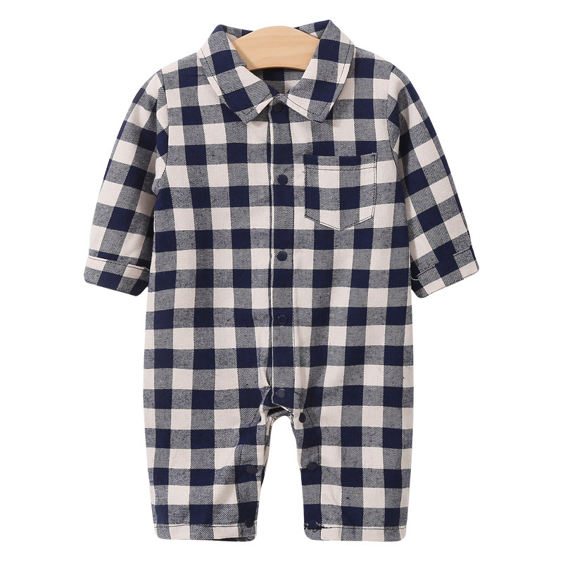 YiErYing Newborn Baby Clothes Long Sleeve Girl Boy Clothing Lattice Design 100% Cotton   Rompers   Infant Baby Jumpsuits