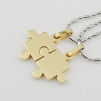 Fashion Couple Jigsaw Necklaces Blue Black Silver Gold Pendant Puzzle Jewelry Lovers Stainless Steel Free Shipping