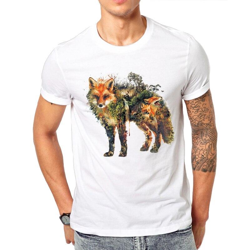 Stunning pattern Red Fox and Horse design Men's T-Shirt Short Sleeve Casual T Shirt Hipster Red Fox Print Tee O-Neck Summer Tops