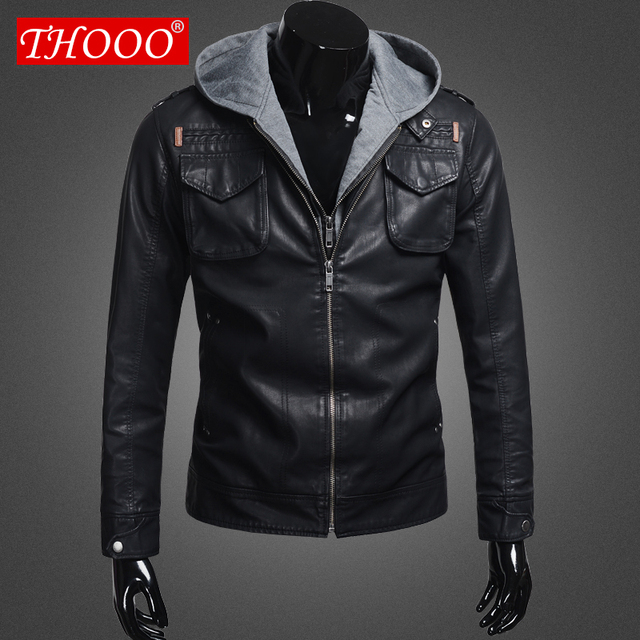 THOOO new  wholesale Short Hooded PU leather jacket Blacks MEN'S JACKET coat M L XL 2XL 3XL 4XL 5XL